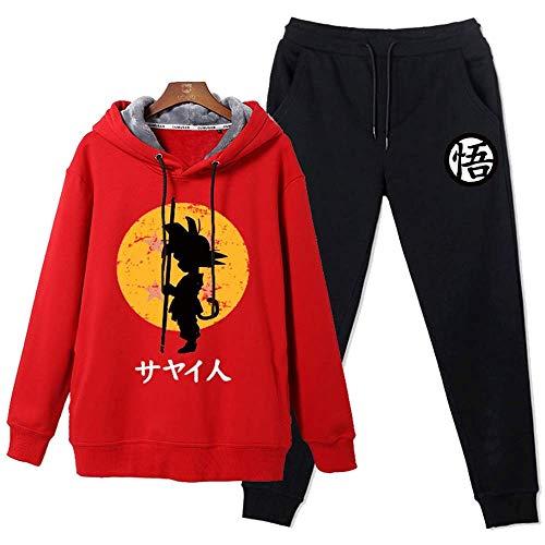 MQJ Dragon Ball Boys Girls Zippertracksuit Contraste Conjunto de Manga Completa Fleece Hoodie Top Bottoms Jogging Joggers Gimnasio Escuela,Bola Del Dragón 1,L