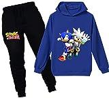 Silver Basic Niños Sudadera con Capucha y Pantalones Traje Sonic The Hedgehog Sudadera con Capucha para Niños Juego Disfraz De Sonic Personajes de la Película 120,Azul Sonic&Silver-2