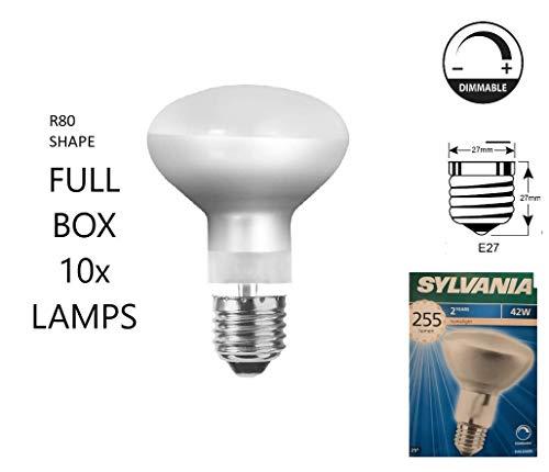 Sylvania Halogen-Energiesparlampe, R80, 80 mm Durchmesser, 2.000 Stunden, 42 W (entspricht 60 W), ES / E27 / große Edison-Schraube, 10 Stück
