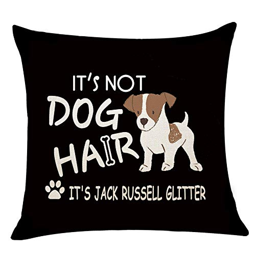 XUWELL Funny Quote It's Not Dog Hair It's Jack Russell Glitter Black Cotton Linen Throw Pillow Cover, Cute Jack Russell Terrier Lover Gifts, 18 x 18 Inch Cushion Case for Sofa Bed Home Decor