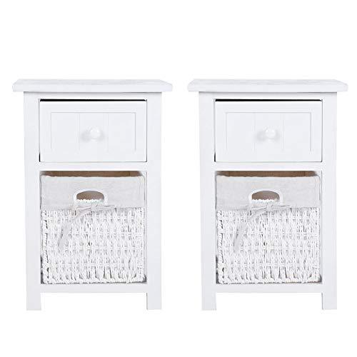 lyrlody Nachttisch, 2X Nachtschrank Nachtkonsole Beistelltisch Sofatisch mit 1 Schublade und 1 Rattankorb Kommode für Schlafzimmer, 27,5 × 31 × 45,5 cm(weiß)