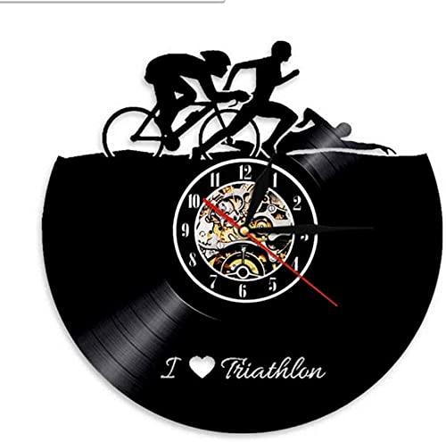 mbbvv Reloj de Disco de Vinilo de Bicicleta de natación Deportiva para Amantes de los Deportes Reloj de Pared Hecho a Mano Atletas decoración del hogar Retro Reloj de Pared de triatlón Regalo