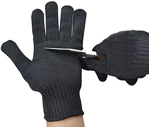 Black Wire Gloves Food Grade Knit Wrist Cuff Cut resistant Gloves Heat Resistant Kint Safety product image