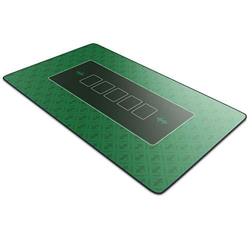 CSL-Computer tapete de Póker 100 x 60 cm - Profesional - Tamaño XXL - Parte Inferior revestida de Goma para un Agarre Estable - Lavable – Diseño de póker - Color Verde