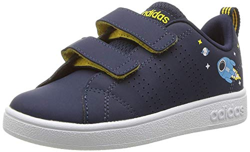 adidas Kids' VS Advantage Clean, Collegiate Navy/White/Eqt Yellow, 4 M US Toddler