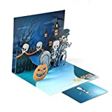 FunDiscount Shop Halloween Greeting Card, Halloween Pop Up Card, Scary Spooky 3D Card, Pumpkin Skull Ghost Witch Bat Card, Popup Greeting Card for Kids Adult Halloween Themed Party (Skeleton)