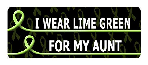 Set of 3 - I WEAR Lime Green for My Aunt Cancer Awareness Sticker Graphic - Decal Sticker
