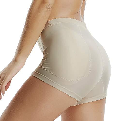 KIWI RATA Calcinha feminina sem costura levantadora de bumbum acolchoada de renda, New Nude(2 Pads), 3X-Large