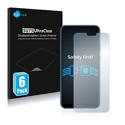 savvies Protector Pantalla Compatible con Huawei P20 Lite 2018 (6 Unidades) Pelicula Ultra Transparente