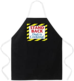 Attitude Aprons Fully Adjustable Stand Back Dad is Cooking! Apron, Black