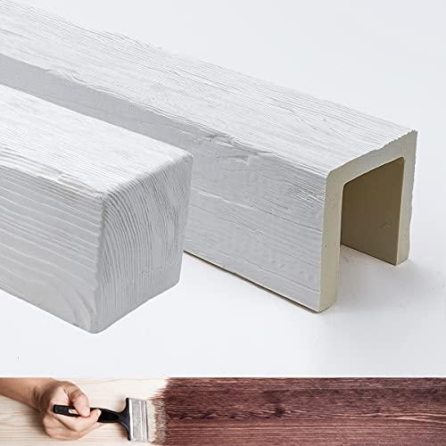 Viga de imitación de madera de 2 metros, medidas 12 x 12 cm (material poliuretano, mejor que el poliestireno). Color blanco pintable. Efecto madera real (ED 106)