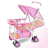 XIAOTIAN El Cochecito de bebé de luz de imitación de ratán Puede Sentarse en la Silla de caña Bebé 0-1-3 Niño Bamboo Child Car (Color : Pink)