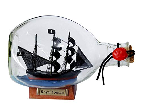 Hampton Nautical  Black Bart's Royal Fortune Pirate Ship in a Bottle, 7