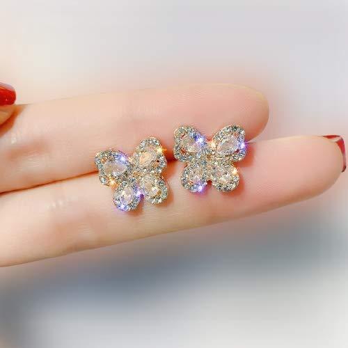 Korea Gold Butterfly Crystal Earrings