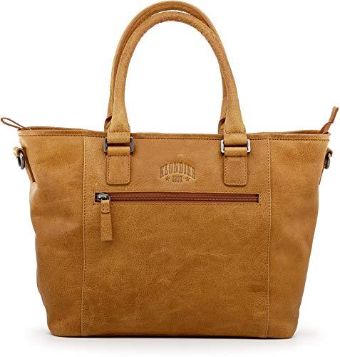 Klondike Milena Handtasche Damen aus Leder, Ledertasche Schultertasche Damentasche, Lederhandtasche Henkeltasche, Cognac