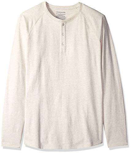 Amazon Essentials Men's Regular-Fit Long-Sleeve Henley Shirt, Oatmeal Heather, Medium