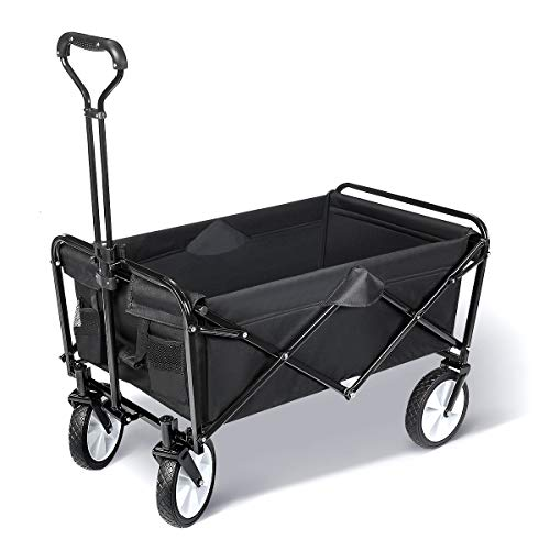TOOCA Collapsible Wagon Folding Beach Wagon Outdoor Utility Wagon Cart with Universal Wheels and Adjustable Handle for Beach, Camping, Shopping, Gardening