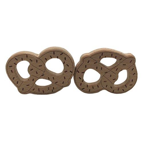 Coskiss 2pcs Palitos de madera de madera para hornear galletas pretzels Mordedor de masticar colgante para collar / pulsera de juguetes de lactancia Baby Play Gym (2pcs)