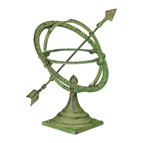 Relaxdays Sonnenuhr Garten, Antik-Design, wetterfest, Gartendeko, für Bodenmontage, 30 cm, Gusseisen, Edelrost, grün