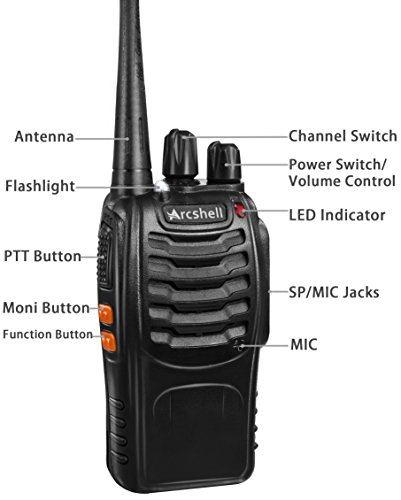 Arcshell Rechargeable Long Range Two-Way Radios with Earpiece 4 Pack UHF 400-470Mhz Walkie Talkies Li-ion Battery and… 5