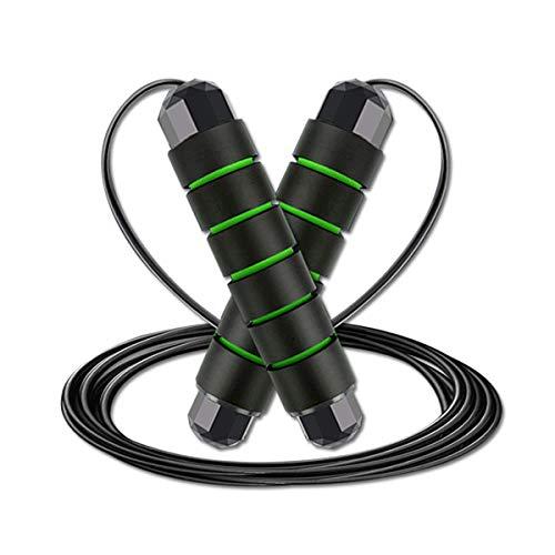 Corda per Saltare Professionale, Rluobo Speed Corda di Salto regolabile 3M lunghezza, Corda per Saltare con Maniglie Antiscivolo, Corda per Saltare Ideale per Fitness e Allenamento, Nero e verde
