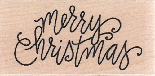 Impression Obsession C12106 Merry Christmas Light Wood Mounted Rubber Stamp