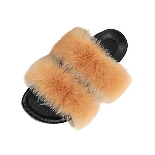 TTLOVE Sommer Slipper Damen Bequeme Sandalen mit Plüsch Lady Bunte Outdoor-Schuhe Elegante Schuhe Weiche Pantoffel-Flipflops Pantoletten