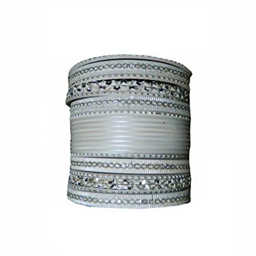 Indische Bangles 24 Armreifen Sunflower Silber 7 cm mit Bindis Bollywood Sari Schmuck