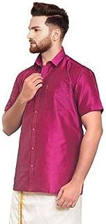SJS-Men's Half Sleeve Solid Art Silk Shirt (Dark Pink, 36)