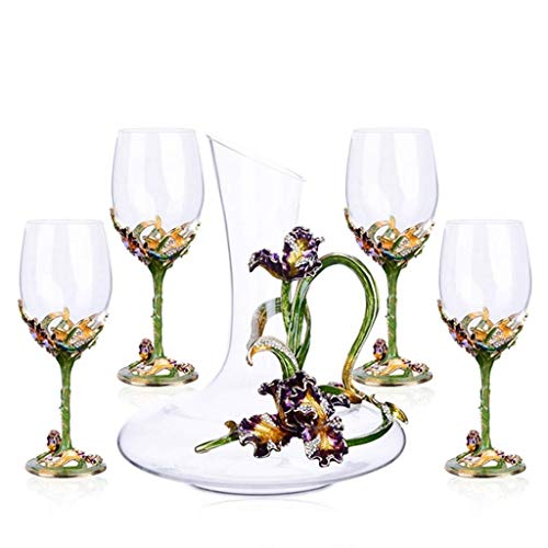WZHREDWINE Europese Stijl Graveren Whiskey Wijn Decanter Kristal Glas Wijn Aerator Rode Wijn Separator 5 Stuk Set