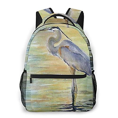 AMIGGOO Mochila informal ,Great Blue Heron Malibu Lagoon Aves Playeras, Mochila de viaje con cremallera , Para negocios, escuela, trabajo, portátil Mochila 16 'X11.5 X8