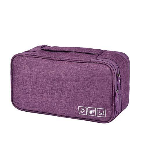 Makeup Tasche Reisen Organizador Mujeres Maquillaje Bolsa Kits de Belleza Maletas Conocidos Cosméticos Bolsa de Aseo Sujetador Paquete Viajes Ropa Interior Sujetador Bra (Color : Purple)