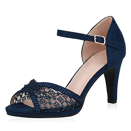 SCARPE VITA Damen Sandaletten Riemchensandaletten Stiletto High Heels Party Schuhe Strass Absatzschuhe Elegante Abendschuhe 191536 Dunkelblau 37