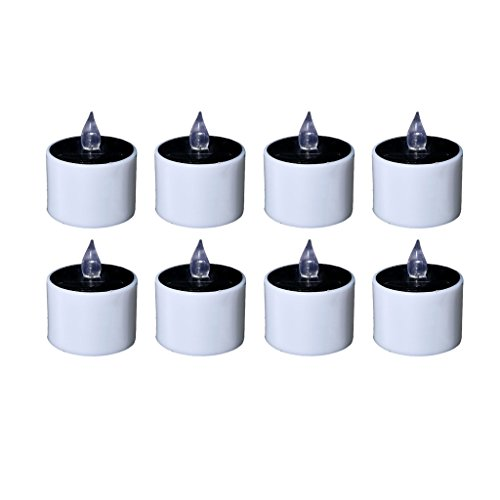 8pcs Flameless Electric Candle Light Small Electric Candle with Plastic Candle LED Flickering Amber Yellow for C Decoration