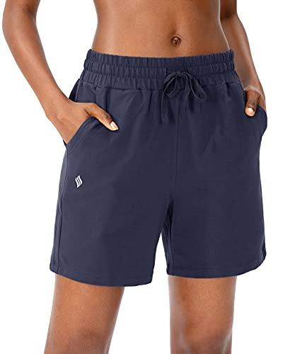 SANTINY Women's Cotton Shorts 5'' Lounge Yoga Shorts Jersey Sweat Bermuda Shorts for Women Walking Athletic with Pockets (Navy_M)