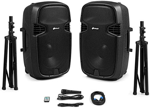 Sonart Portable 3000W Wireless 2-Way Powered PA Speaker System Set, 15-Inch Professional DJ Active + Passive Speaker with Bluetooth, USB/SD Card Input, FM Radio, 2 Speaker Stands, Microphone