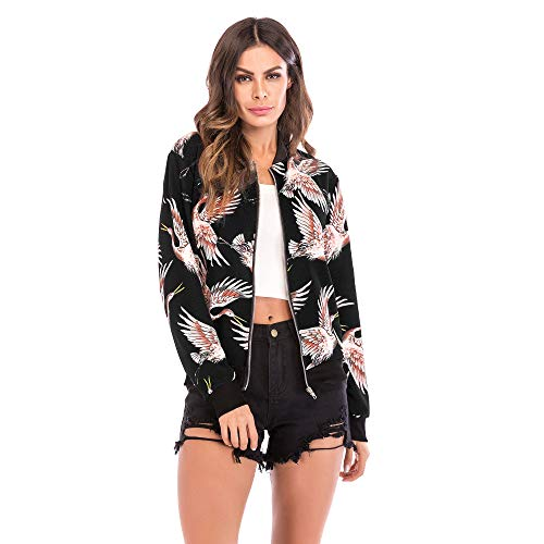 Lowest Prices! Women's Casual Floral Zip Up Bomber Coat Stand Collar Lightweight Short Outwear Print...