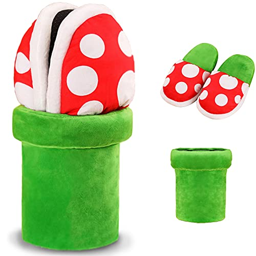 Lopbraa Piranha Plants Plush Funny Slippers Loafer with Pipe Pot Holder Funny Gifts for Women Mens Teens (Piranha Plants)