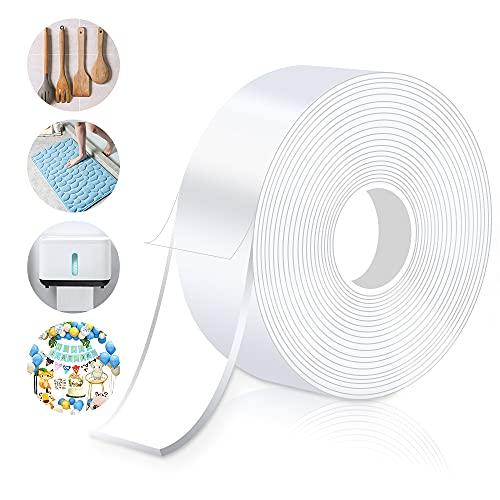 Cinta adhesiva de doble cara extrafuerte, reutilizable, transparente, de doble cara, lavable, para alfombras, marcos de fotos, cocina, (3 m x 3 cm x 2 mm)