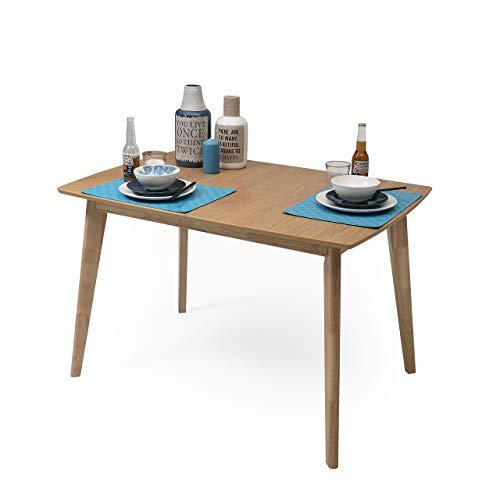 Homely - Mesa de Comedor-Cocina Extensible de diseno nordico de 120/160x80 cm MELAKA Roble