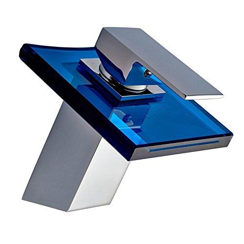 Denocel Badkamer wastafel Taps Moderne Mixer Kraan Met Waterval Effect Enkele Handvat Mixer Kraan Basin Mixer Chroom-Coated Messing Blender Glazen Mondstuk