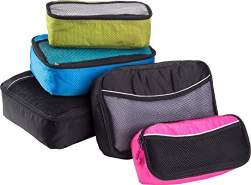 bago 5 Set Packing Cubes for Travel - Luggage & Suitcase Organizer - Cube Set (1_Large+2_Medium+2_Small, BlackBluePurpGreenPink)