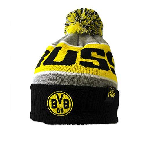 Borussia Dortmund Bonnet à Pompon BVB pour Adulte, Gris, Taille Unique
