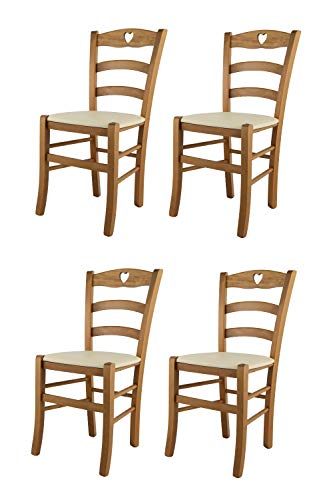 t m c s Tommychairs - Set 4 sillas Cuore para Cocina y Comedor, Estructura en Madera de Haya Color Roble y Asiento tapizado en Polipiel Color Marfil