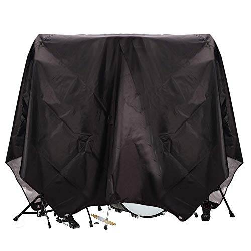 Drum Set CoverPVC Coating Drum Cover, Drum Accessories, Electric Drum Kit Cover with Sewn-in Weighted Corners, Drum Sets Accessories (78'x 98', black)