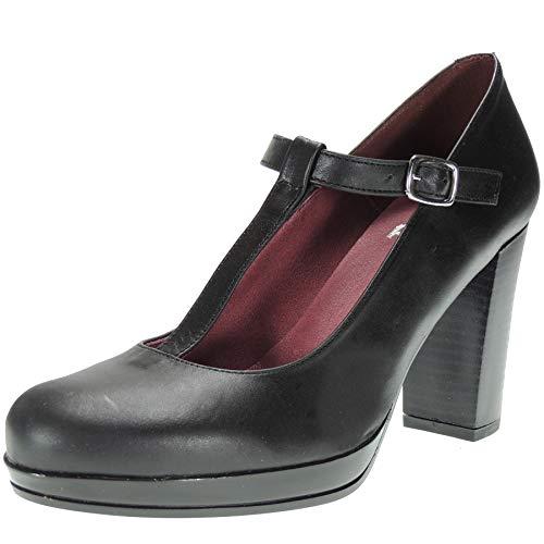 Abril S-991 Zapato Plataforma para Mujer Hebilla Tacón Ancho 9CM Negro Talla 40