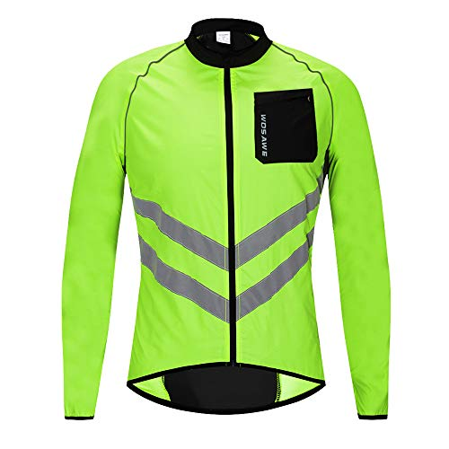 WOSAWE New Cycling Jacket Men Women Windbreaker Coat Breathable Waterproof Lightweight Jacket Safety for Motorbike, Riding and Racing at Night, Jacket Green, XXL