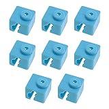 8 Pcs 3D Printer Silicone Sock Hotend for E3D-V5/ Anycubic Kossel/Mega I3/ I3-X/ I3-S/ 4Max PRO Heating Aluminum Block Blue