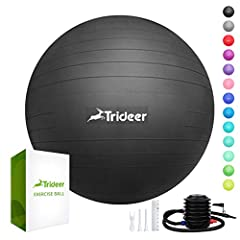 EXTRA THICK AND ANTI-BURST: one of the highest density exercise balls in the market. 2000 micrometers in thickness and can resist up to 2200 lbs. HIGH QUALITY MATERIAL AND ANTI-SLIP: Professional quality with non-toxic PVC material, free of BPA & hea...