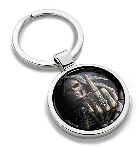 Biomar Labs® Schlüsselanhänger Metall Keyring mit Geschenkbox Autoschlüssel Geschenk Metall-Schlüsselanhänger Schlüsselbund Edelstahl Skull Schädel Totenkopf KK 161